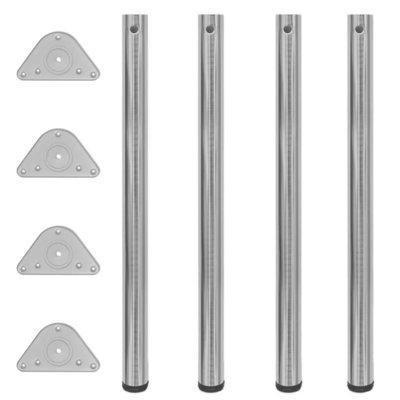 Tafelpoten in hoogte verstelbaar geborsteld nikkel 870 mm 4 st