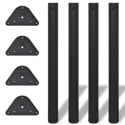 Tafelpoten in hoogte verstelbaar zwart 710 mm 4 st