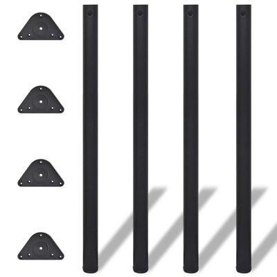 Tafelpoten in hoogte verstelbaar 1100 mm zwart 4 st