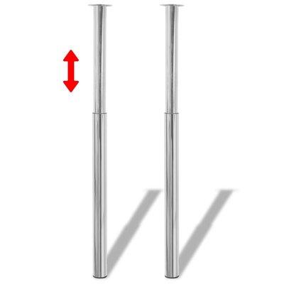 Tafelpoten telescopisch 710-1100 mm chroom 2 st