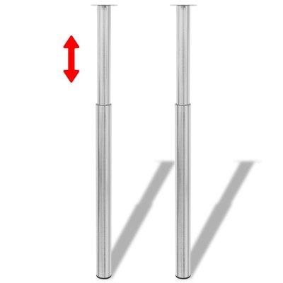 Tafelpoten telescopisch geborsteld nikkel 710 mm - 1100 mm 2 st