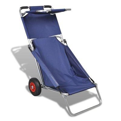 Strandtrolley met wielen draagbaar en inklapbaar blauw