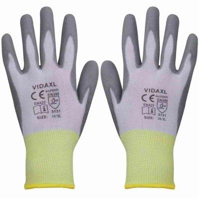Werkhandschoenen PU 24 paar wit en grijs maat 10/XL
