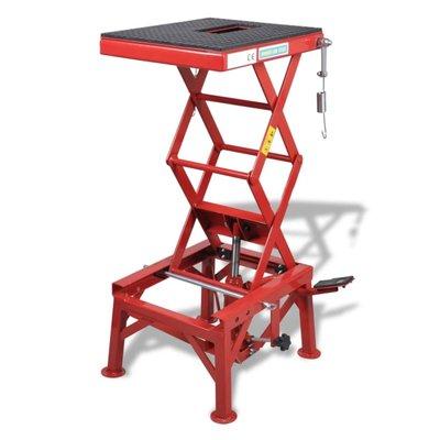 Rode motorlift 135 kg met voetpedaal