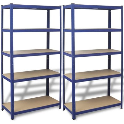 Opbergrekken 90x40x180 cm staal blauw 2 st