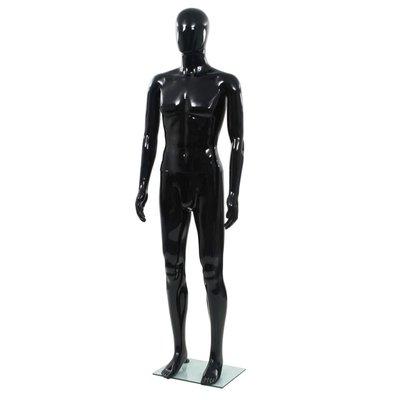 Etalagepop mannelijk met glazen voet 185 cm glanzend zwart