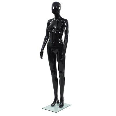 Etalagepop vrouwelijk met glazen voet 175 cm glanzend zwart
