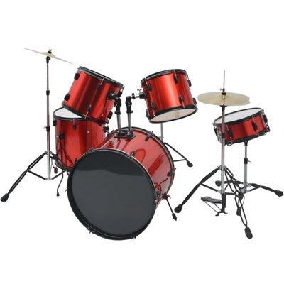 Complete drumstel gepoederlakt staal rood volwassene