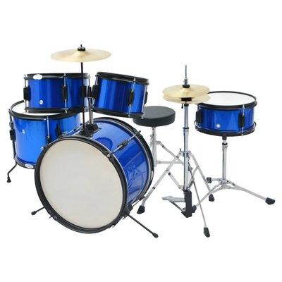 Compleet drumstel gepoederlakt staal blauw junior