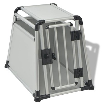Hondentransportbox M aluminium
