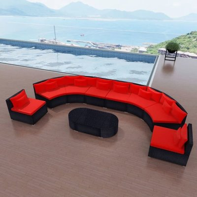 Loungeset poly rattan rood