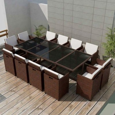 Tuinset bruin poly rattan 37-delig