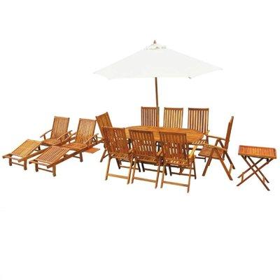 Tuin- en loungeset massief acaciahout 13-delig