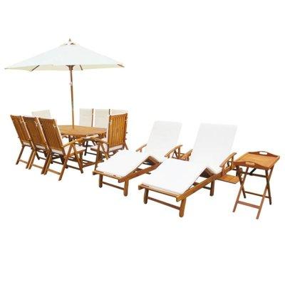 Tuin- en loungeset massief acaciahout 23-delig