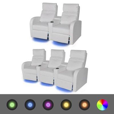 LED-stoel set 2+3-zits kunstleer wit