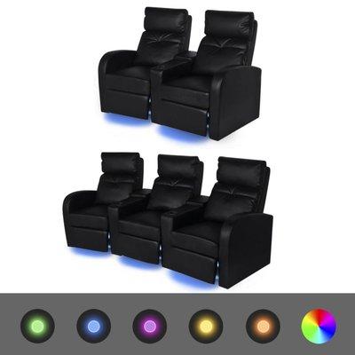 LED-stoel set 2+3-zits kunstleer zwart
