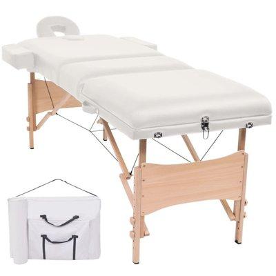 Massagetafel inklapbaar 3 zones 10 cm dik wit