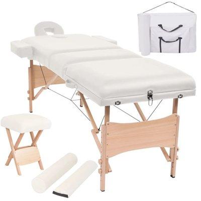 Massagetafel- en krukset inklapbaar 3 zones 10 cm dik wit