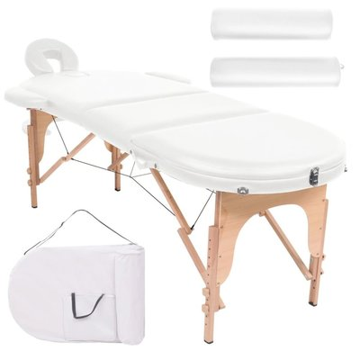 Massagetafel inklapbaar 10 cm dik met 2 bolsters ovaal wit