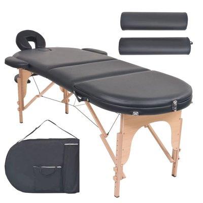 Massagetafel inklapbaar 10 cm dik met 2 bolsters ovaal zwart