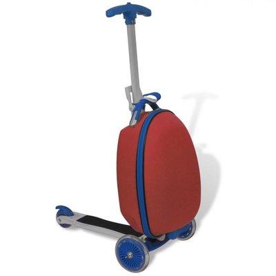 Kinderstep met rolkoffer rood
