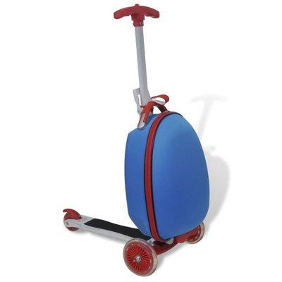 Kinderstep met rolkoffer blauw