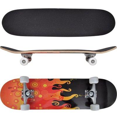 "Ovaal skateboard met vuur design 9-laags esdoorn hout 8"""