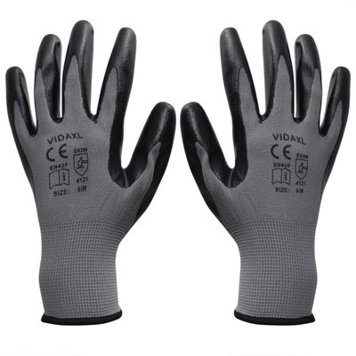 Werkhandschoenen nitrilrubber 24 paar grijs en zwart maat 10/XL