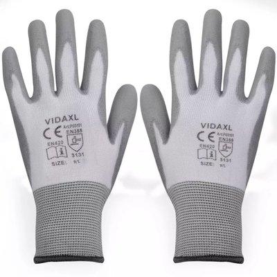 Werkhandschoenen PU 24 paar wit en grijs maat 9/L
