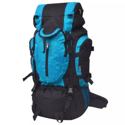 Rugzak hiking XXL 75 L zwart en blauw