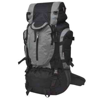 Rugzak hiking XXL 75 L zwart en grijs
