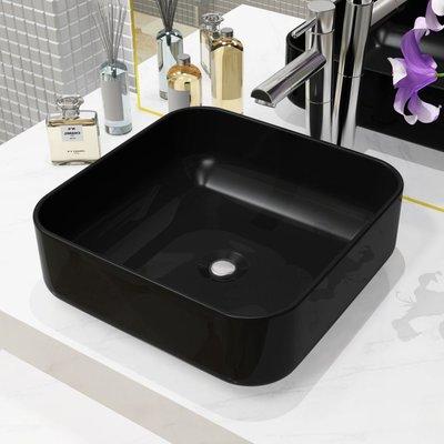 Wastafel vierkant 38x38x13,5 cm keramiek zwart