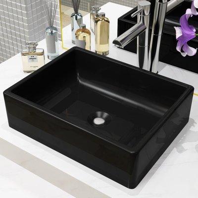 Wastafel vierkant 41x30x12 cm keramiek zwart