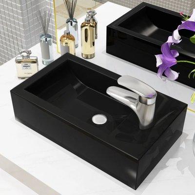 Wastafel met kraangat rechthoekig 46x25,5x12 cm keramiek zwart