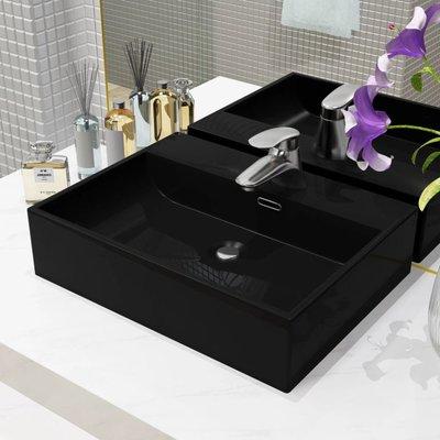 Wastafel met kraangat 51,5x38,5x15 cm keramiek zwart