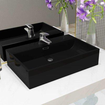Wastafel met kraangat 60,5x42,5x14,5 cm keramiek zwart