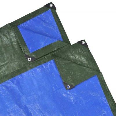 Regenhoes 2x10 m PE 210 g/m² groen en blauw