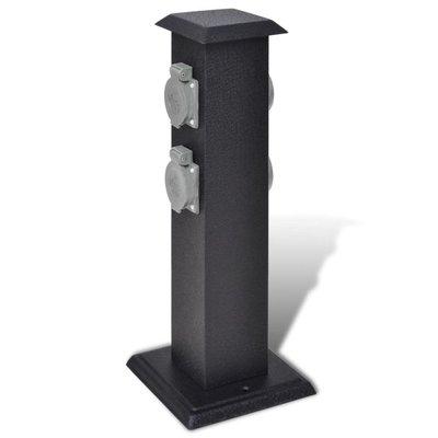 Buitenstopcontact op zuil (zwart)