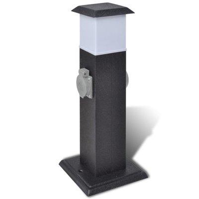 Buitenstopcontact op zuil met lamp (zwart)