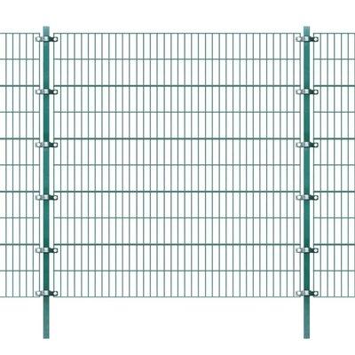Omheiningspaneel met palen groen ijzer 6x2 m