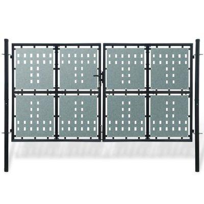Dubbele hekpoort 300x200 cm zwart