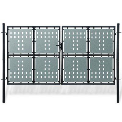 Tuinpoort dubbele deur zwart 300 x 250 cm