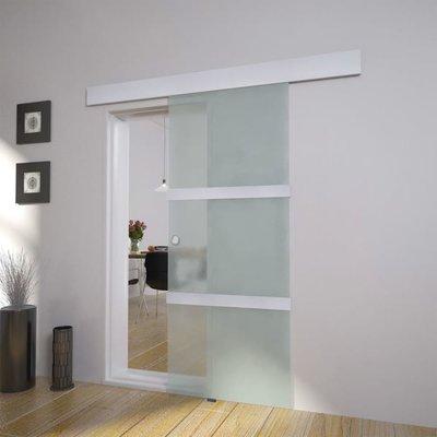 Glazen schuifdeur 205 x 75 cm.