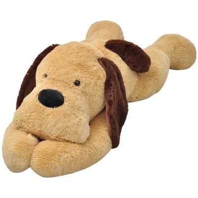 Knuffelbeest hond 80 cm pluche bruin