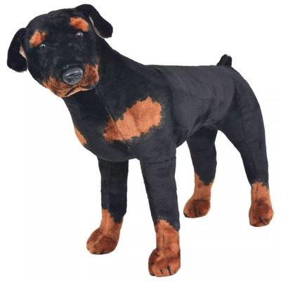 Speelgoedhond rottweiler staand XXL pluche zwart en bruin