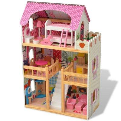 Poppenhuis 3 verdiepingen 60x30x90 cm hout