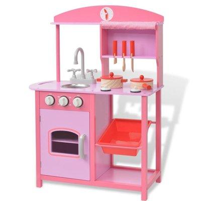 Speelgoedkeuken roze 60x27x83 cm hout