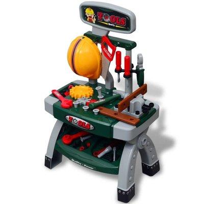 Speelgoedwerkbank met gereedschap voor kinderen kinderkamer groen + grijs