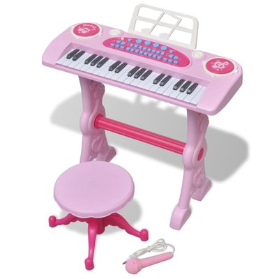 Speelgoedkeyboard met krukje/microfoon en 37 toetsen roze