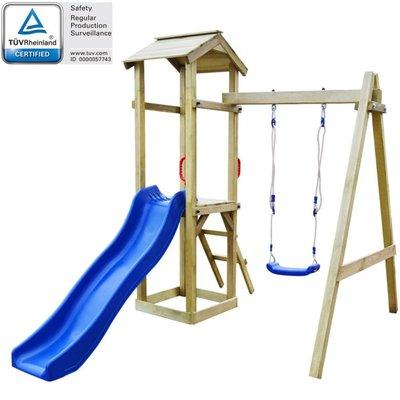 Speelhuis met ladder en schommels 237x168x218 cm FSC grenenhout